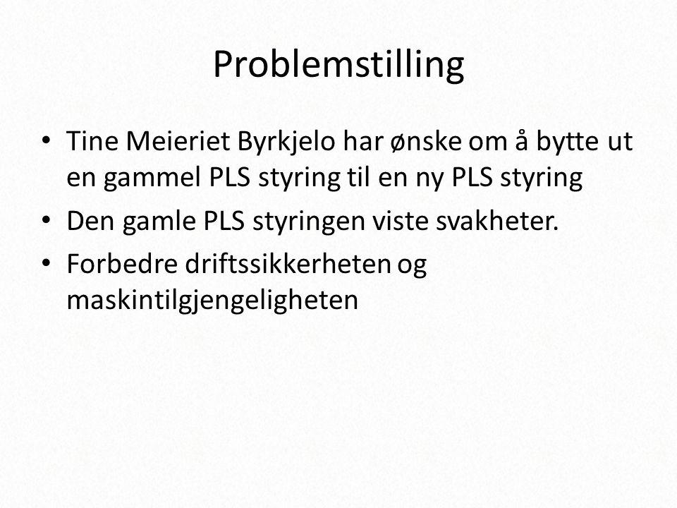 Problemstilling Tine Meieriet Byrkjelo har ønske om å bytte ut en gammel PLS styring til en ny PLS styring.