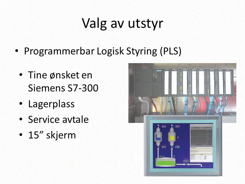 Valg av utstyr Programmerbar Logisk Styring (PLS)