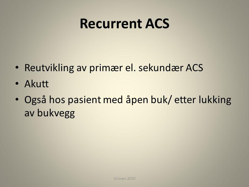 Recurrent ACS Reutvikling av primær el. sekundær ACS Akutt