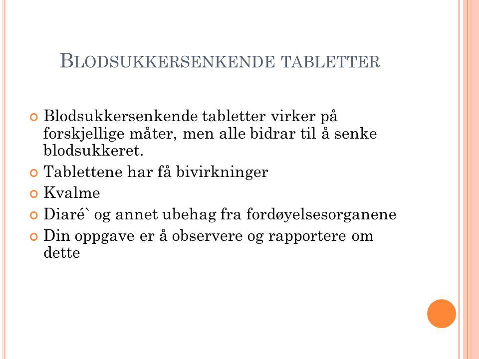Blodsukkersenkende tabletter