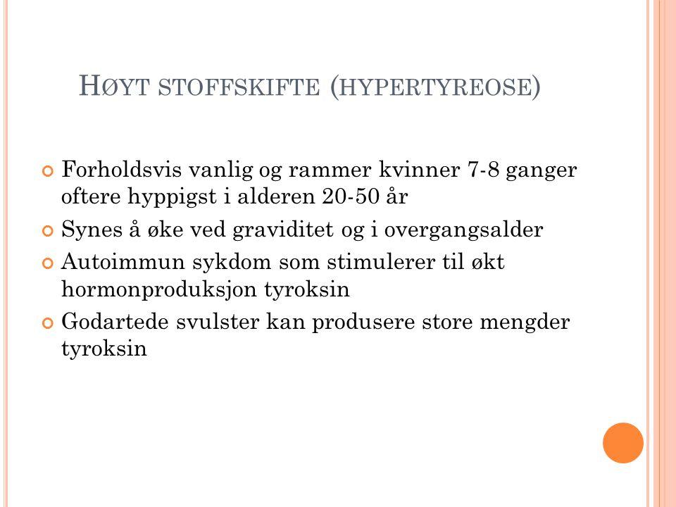 Høyt stoffskifte (hypertyreose)