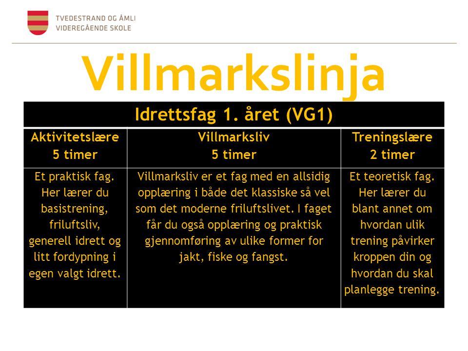 Villmarkslinja Idrettsfag 1. året (VG1) Aktivitetslære 5 timer