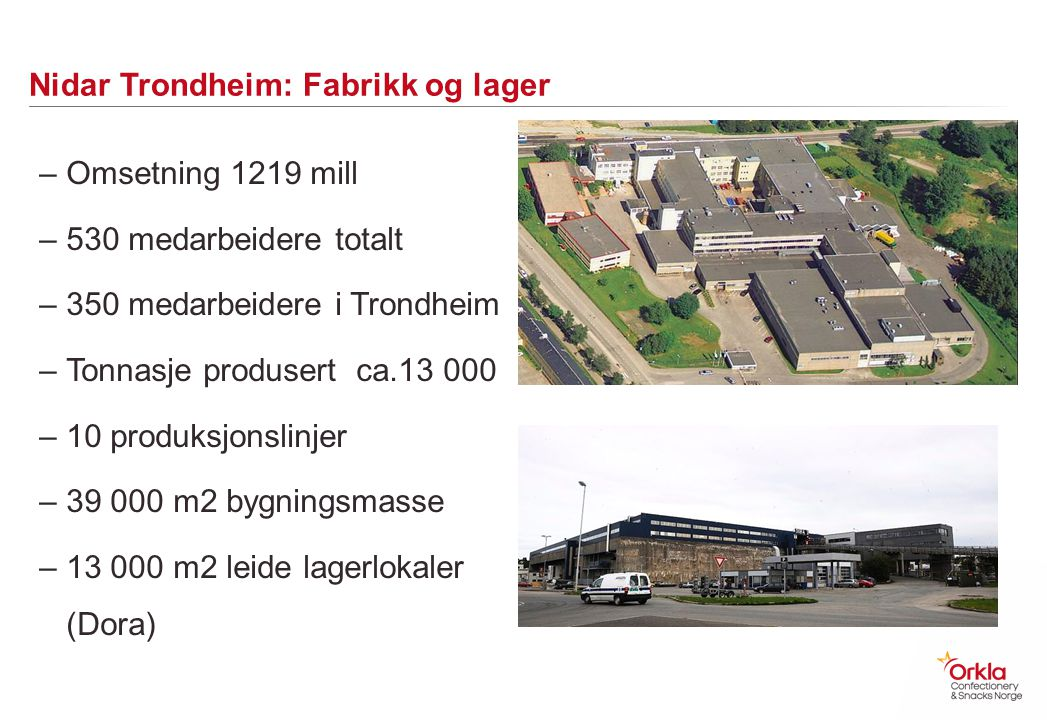 Nidar Trondheim: Fabrikk og lager