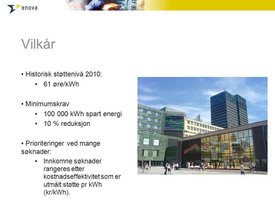 Vilkår Historisk støttenivå 2010: 61 øre/kWh Minimumskrav
