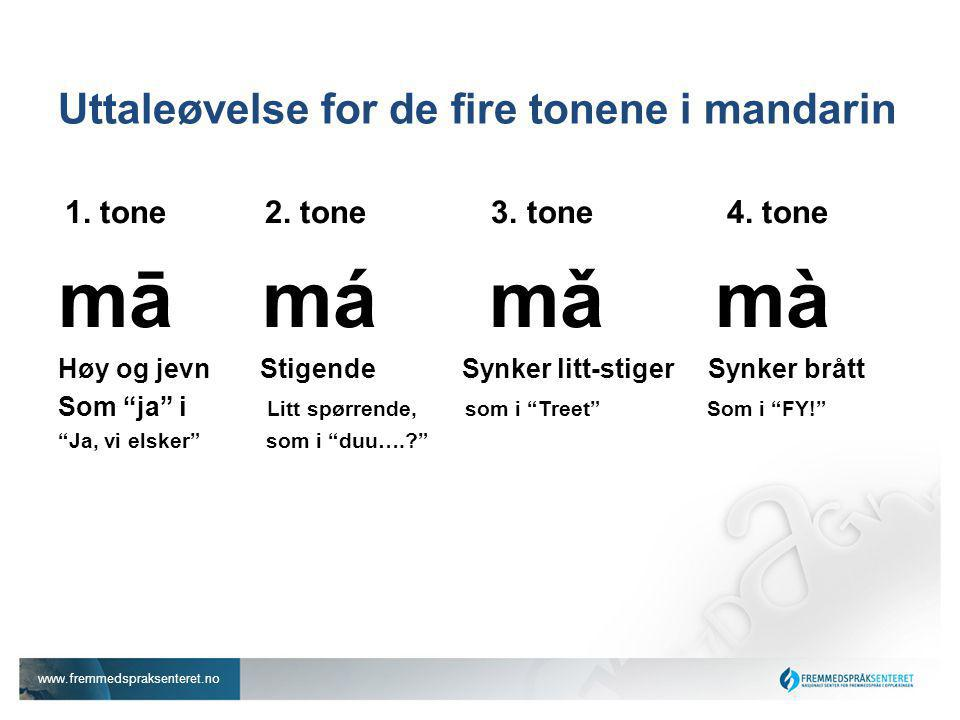 Uttaleøvelse for de fire tonene i mandarin