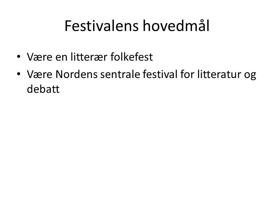 Festivalens hovedmål Være en litterær folkefest