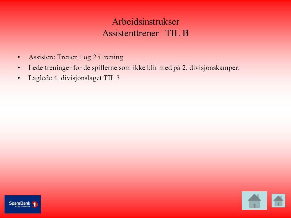 Arbeidsinstrukser Assistenttrener TIL B