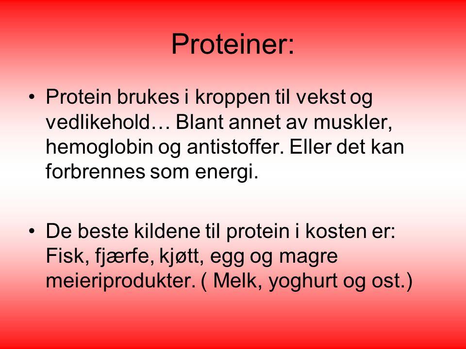 Proteiner: Protein brukes i kroppen til vekst og vedlikehold… Blant annet av muskler, hemoglobin og antistoffer. Eller det kan forbrennes som energi.