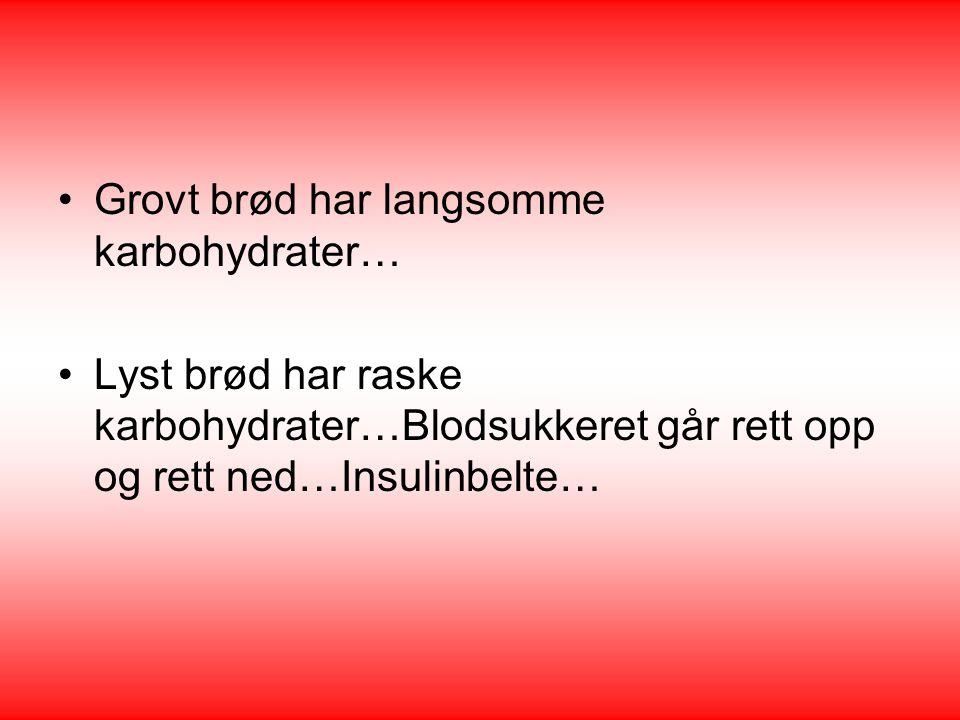 Grovt brød har langsomme karbohydrater…