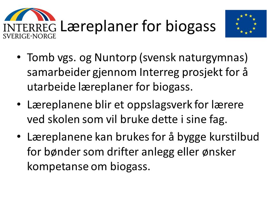 Læreplaner for biogass