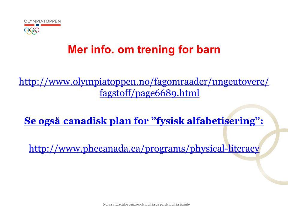 Mer info. om trening for barn