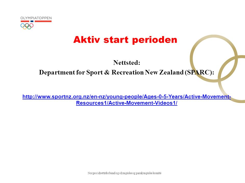 Department for Sport & Recreation New Zealand (SPARC):
