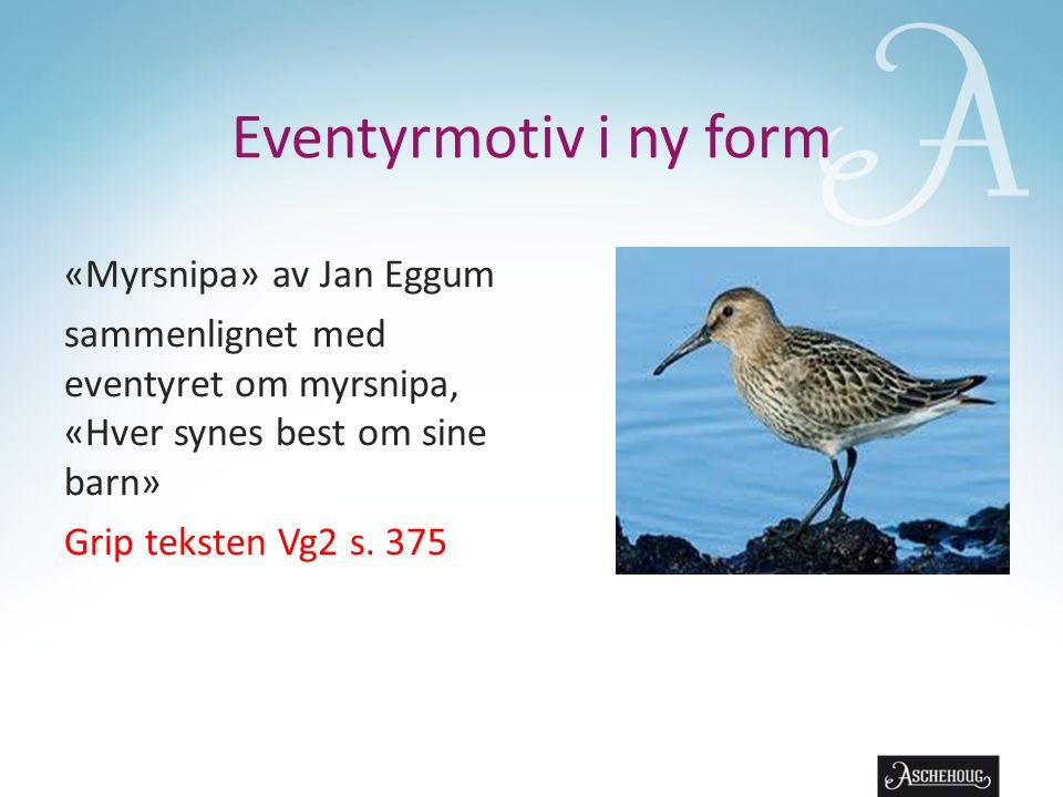 Eventyrmotiv i ny form «Myrsnipa» av Jan Eggum sammenlignet med eventyret om myrsnipa, «Hver synes best om sine barn» Grip teksten Vg2 s.