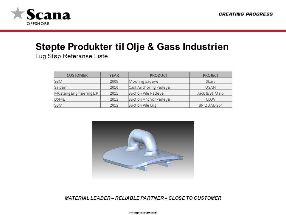 Støpte Produkter til Olje & Gass Industrien Lug Støp Referanse Liste