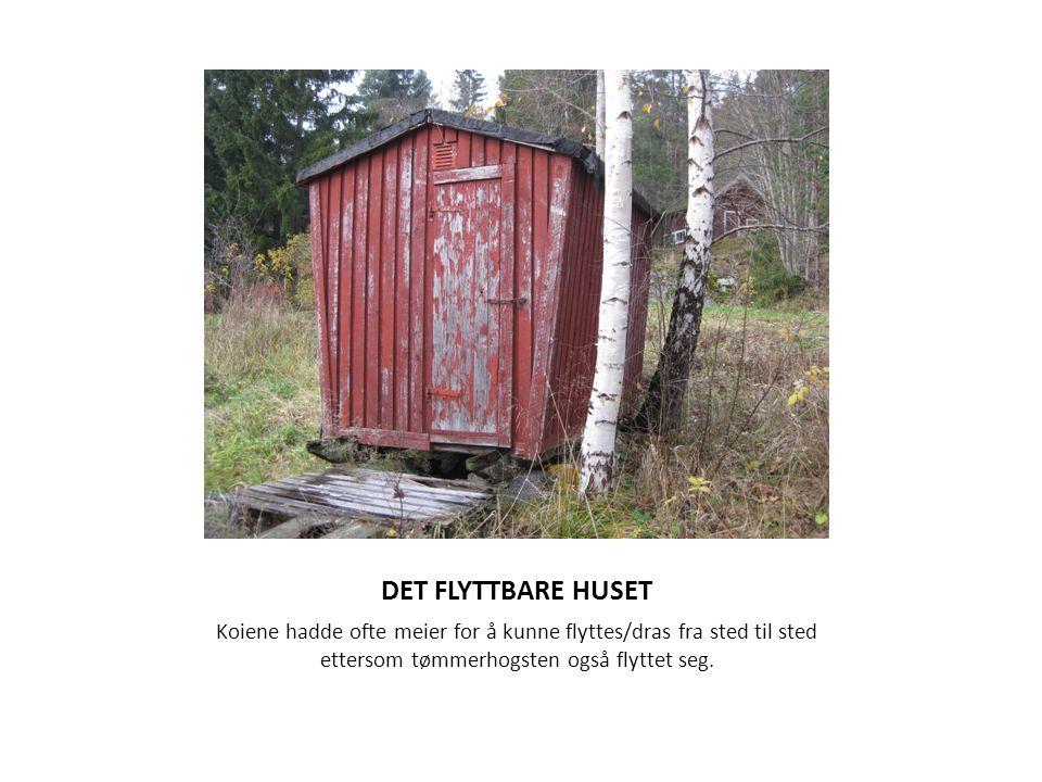 DET FLYTTBARE HUSET Koiene hadde ofte meier for å kunne flyttes/dras fra sted til sted ettersom tømmerhogsten også flyttet seg.