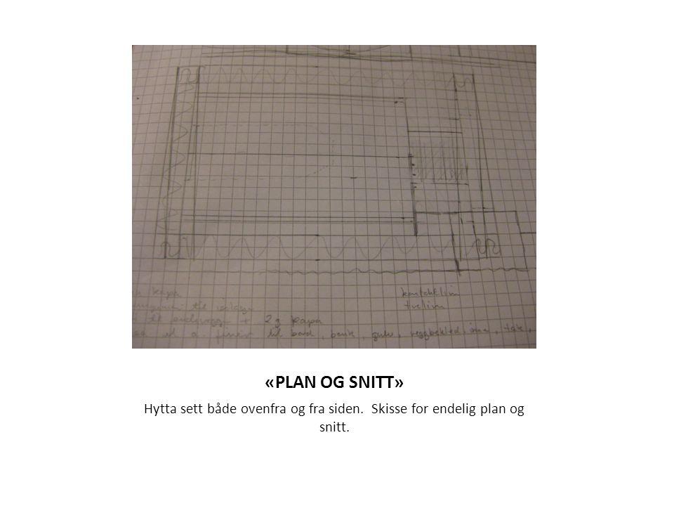 «PLAN OG SNITT» Hytta sett både ovenfra og fra siden. Skisse for endelig plan og snitt.
