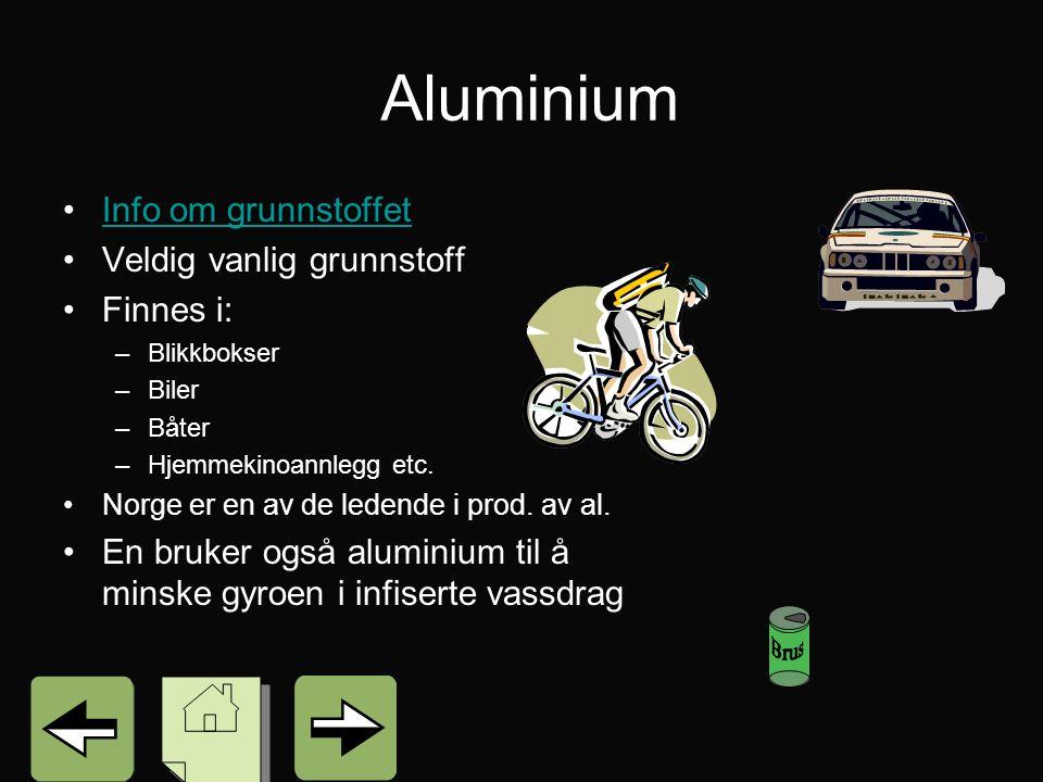Aluminium Info om grunnstoffet Veldig vanlig grunnstoff Finnes i: