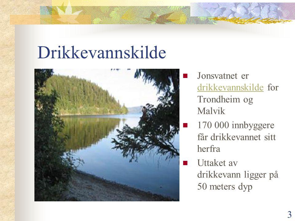 Drikkevannskilde Jonsvatnet er drikkevannskilde for Trondheim og Malvik. 170 000 innbyggere får drikkevannet sitt herfra.