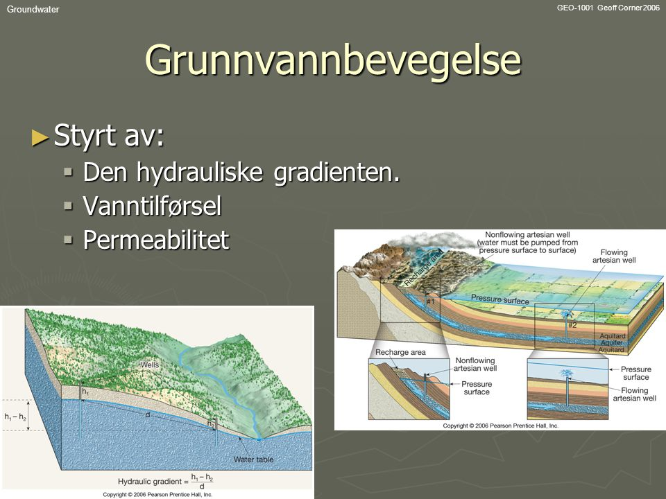 Grunnvannbevegelse Styrt av: Den hydrauliske gradienten. Vanntilførsel