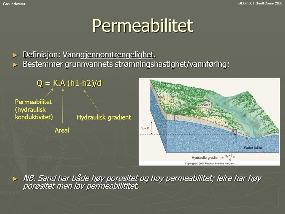 Permeabilitet Definisjon: Vanngjennomtrengelighet.