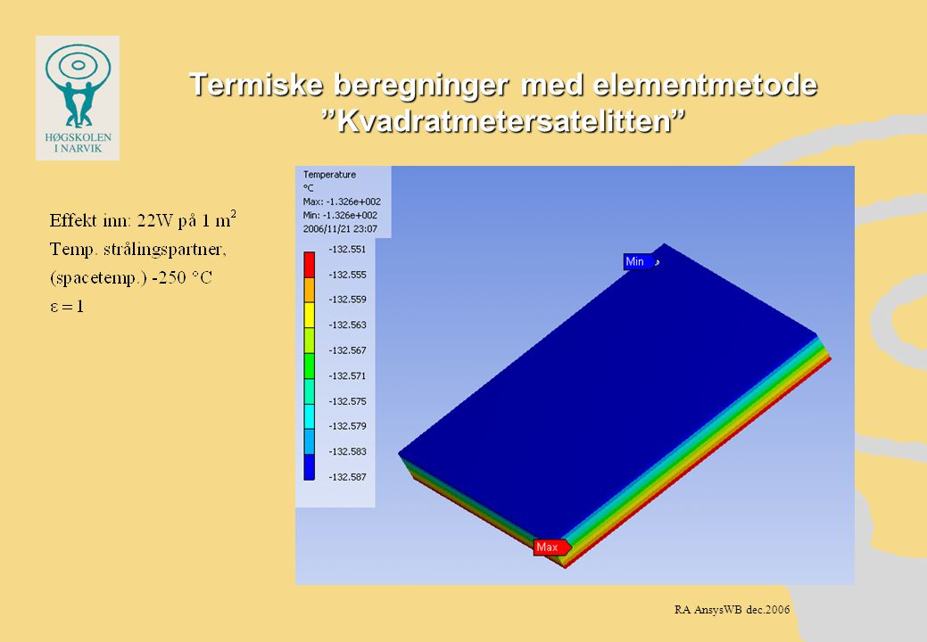 Termiske beregninger med elementmetode Kvadratmetersatelitten