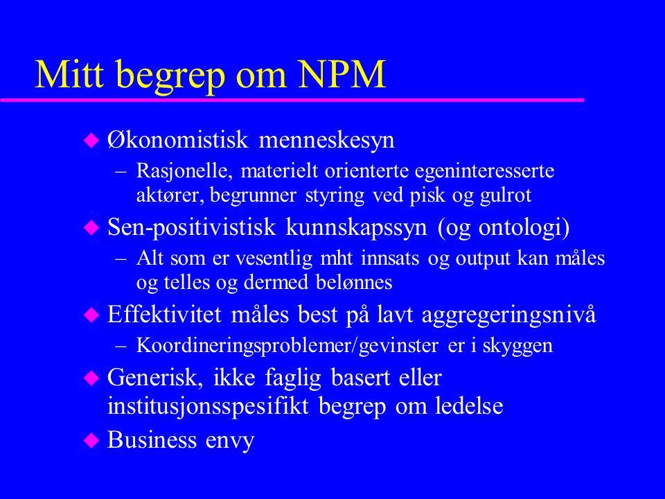Mitt begrep om NPM Økonomistisk menneskesyn