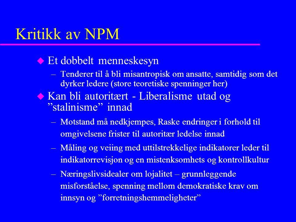 Kritikk av NPM Et dobbelt menneskesyn