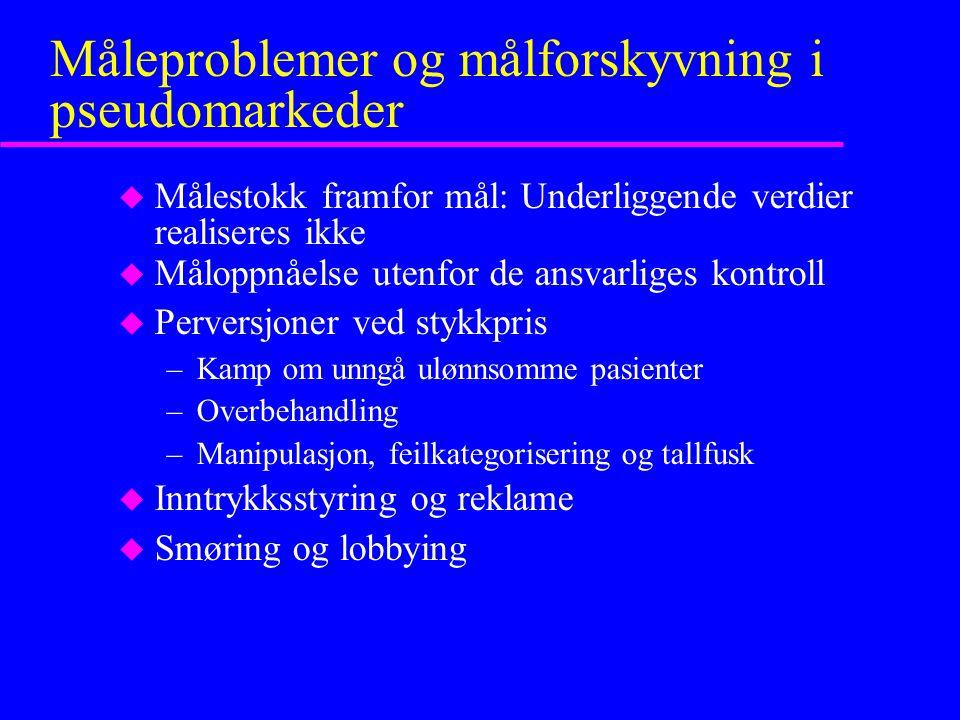 Måleproblemer og målforskyvning i pseudomarkeder