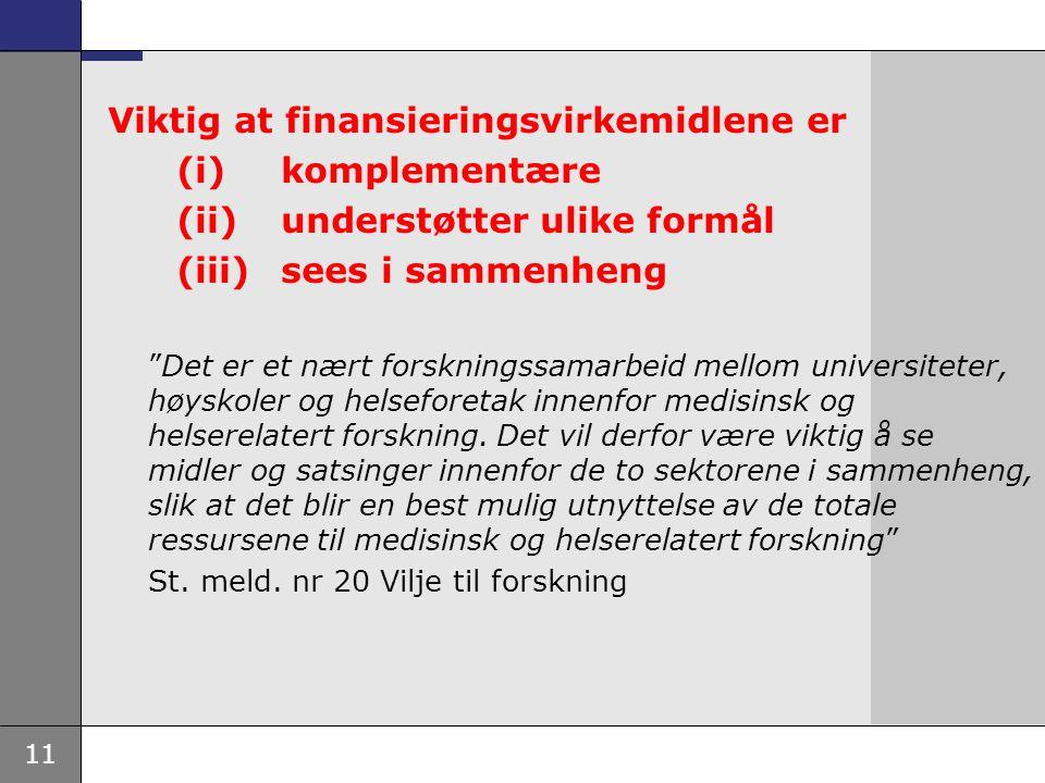 Viktig at finansieringsvirkemidlene er (i) komplementære