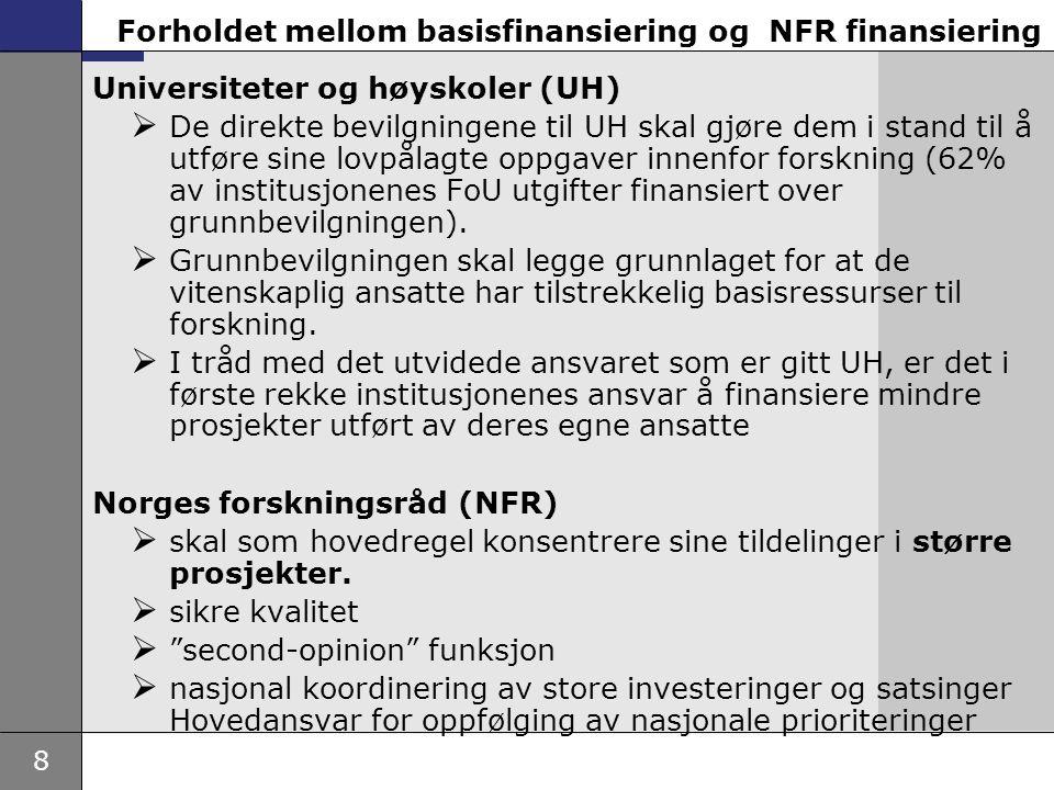 Forholdet mellom basisfinansiering og NFR finansiering