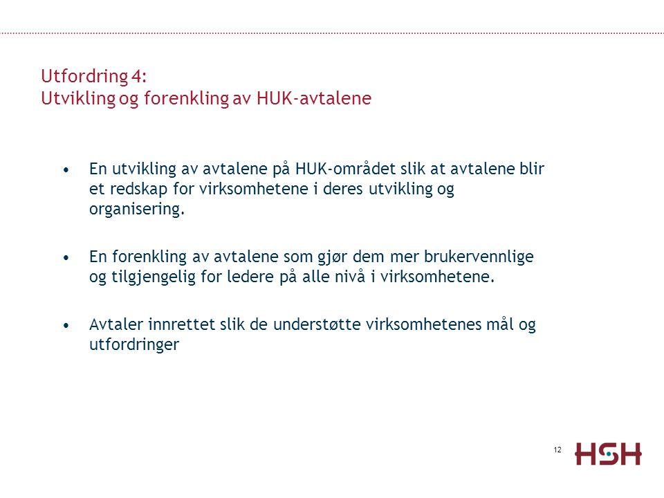 Utfordring 4: Utvikling og forenkling av HUK-avtalene