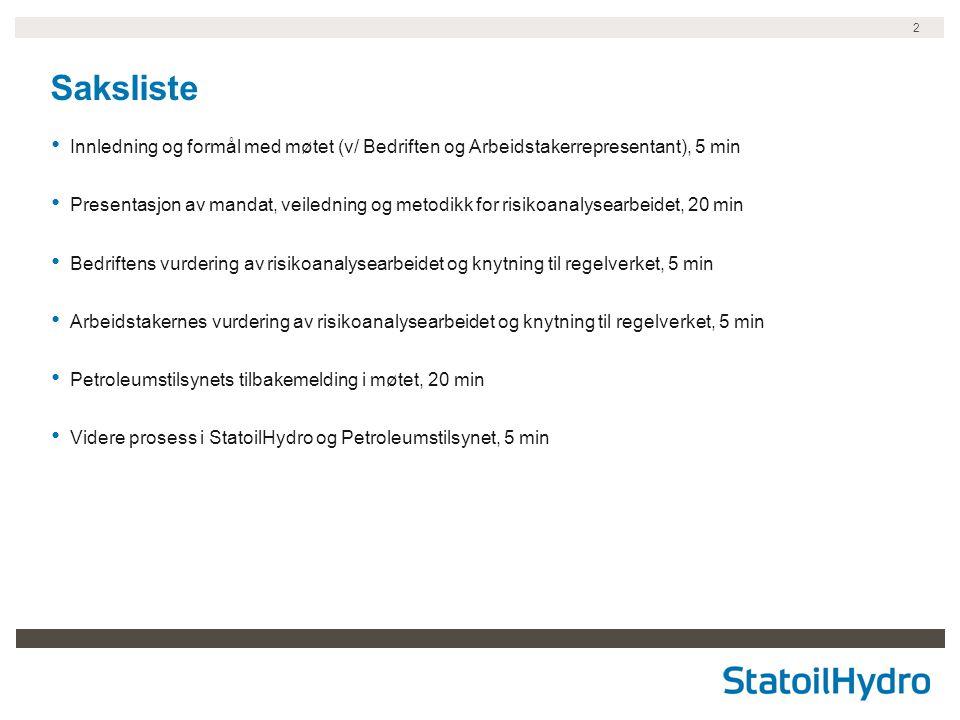 Saksliste Innledning og formål med møtet (v/ Bedriften og Arbeidstakerrepresentant), 5 min.