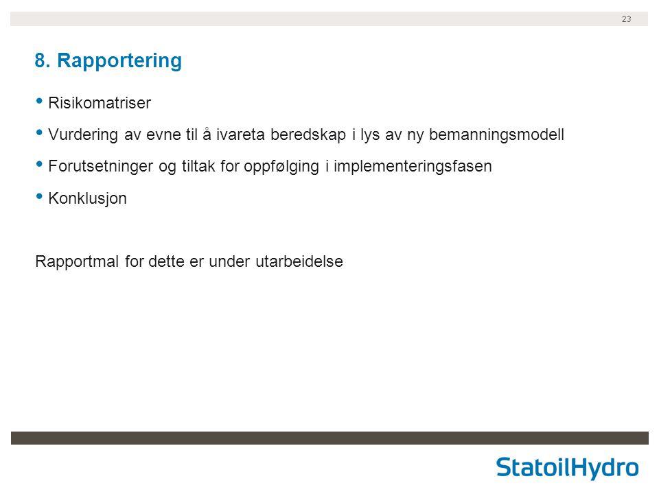 8. Rapportering Risikomatriser