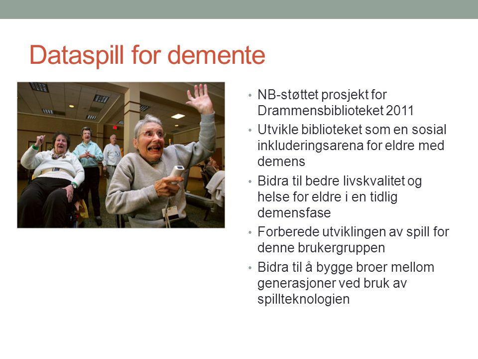Dataspill for demente NB-støttet prosjekt for Drammensbiblioteket 2011