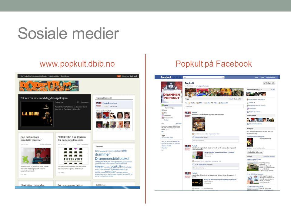 Sosiale medier www.popkult.dbib.no Popkult på Facebook