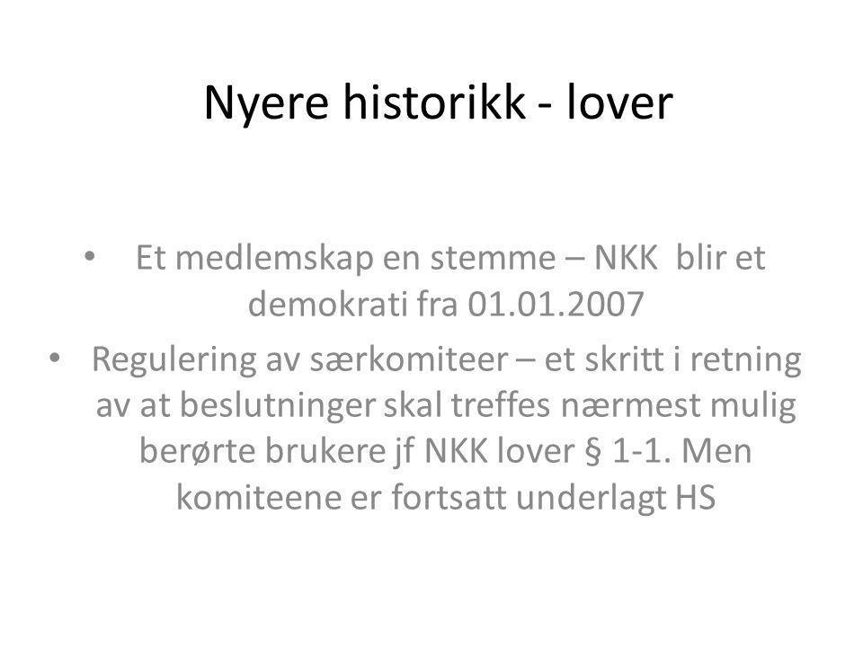 Nyere historikk - lover