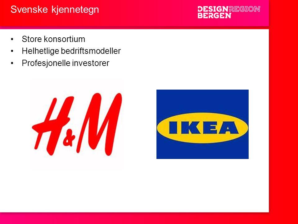 Svenske kjennetegn Store konsortium Helhetlige bedriftsmodeller
