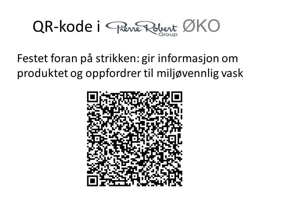 QR-kode i ØKO Festet foran på strikken: gir informasjon om produktet og oppfordrer til miljøvennlig vask.
