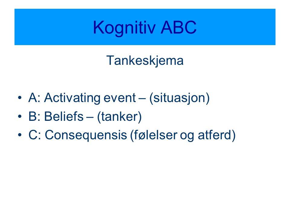 Kognitiv ABC Tankeskjema A: Activating event – (situasjon)