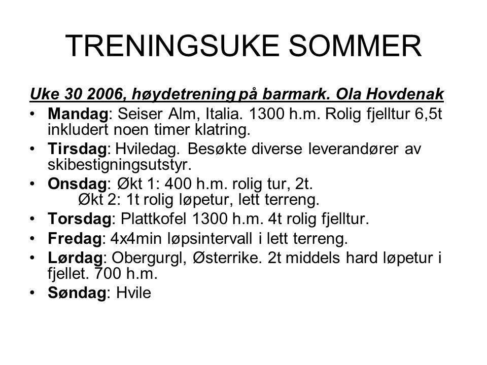 TRENINGSUKE SOMMER Uke 30 2006, høydetrening på barmark. Ola Hovdenak
