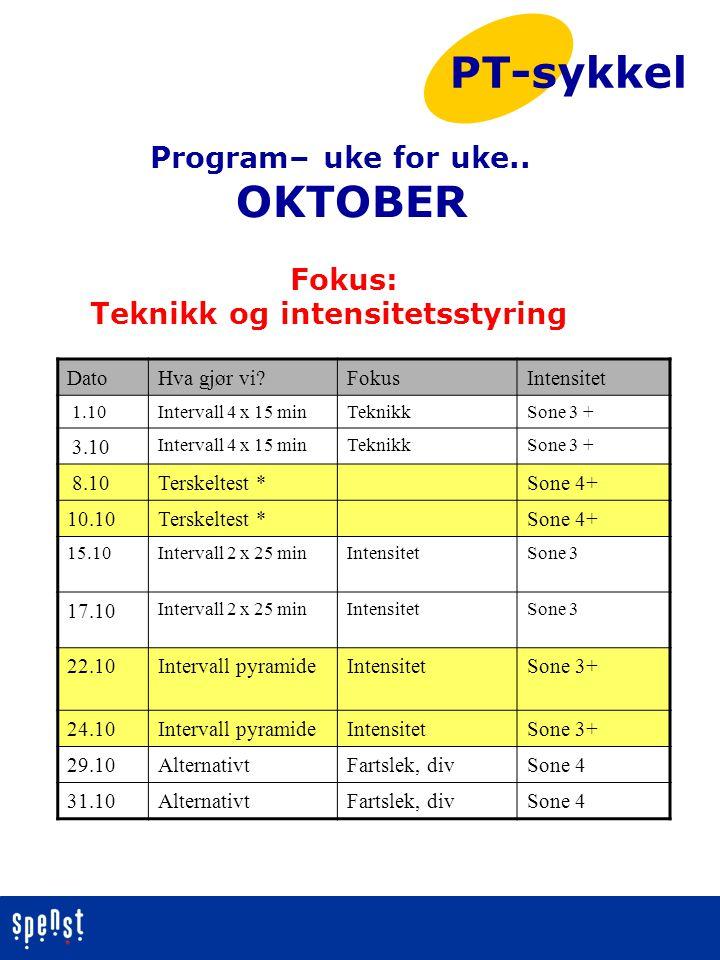PT-sykkel OKTOBER Program– uke for uke.. Fokus:
