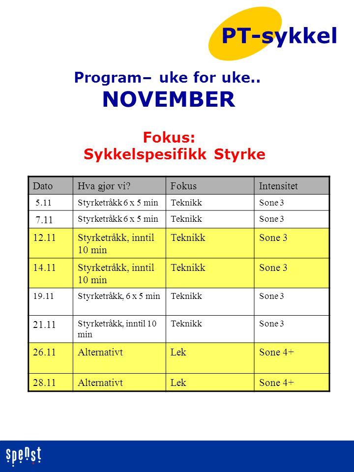 PT-sykkel NOVEMBER Program– uke for uke.. Fokus: