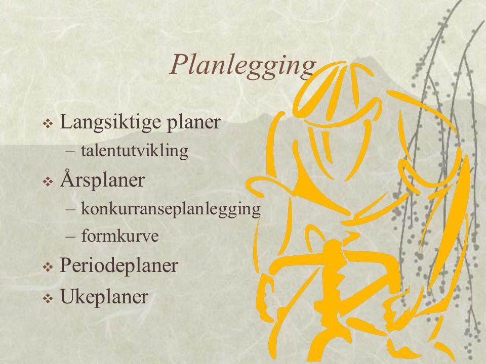 Planlegging Langsiktige planer Årsplaner Periodeplaner Ukeplaner