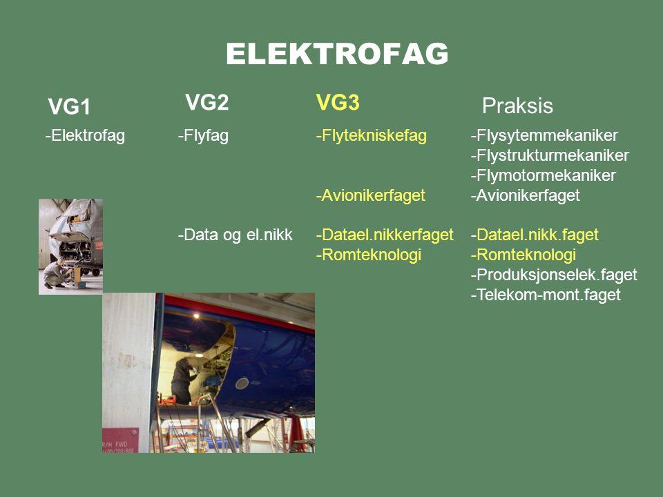 ELEKTROFAG VG2 VG3 VG1 Praksis Elektrofag Flyfag Data og el.nikk