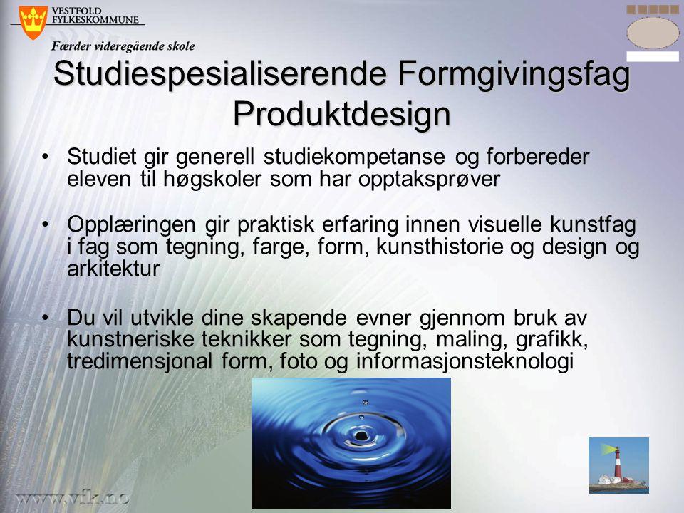 Studiespesialiserende Formgivingsfag Produktdesign