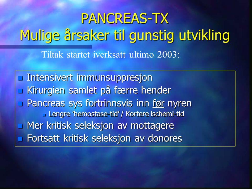 PANCREAS-TX Mulige årsaker til gunstig utvikling