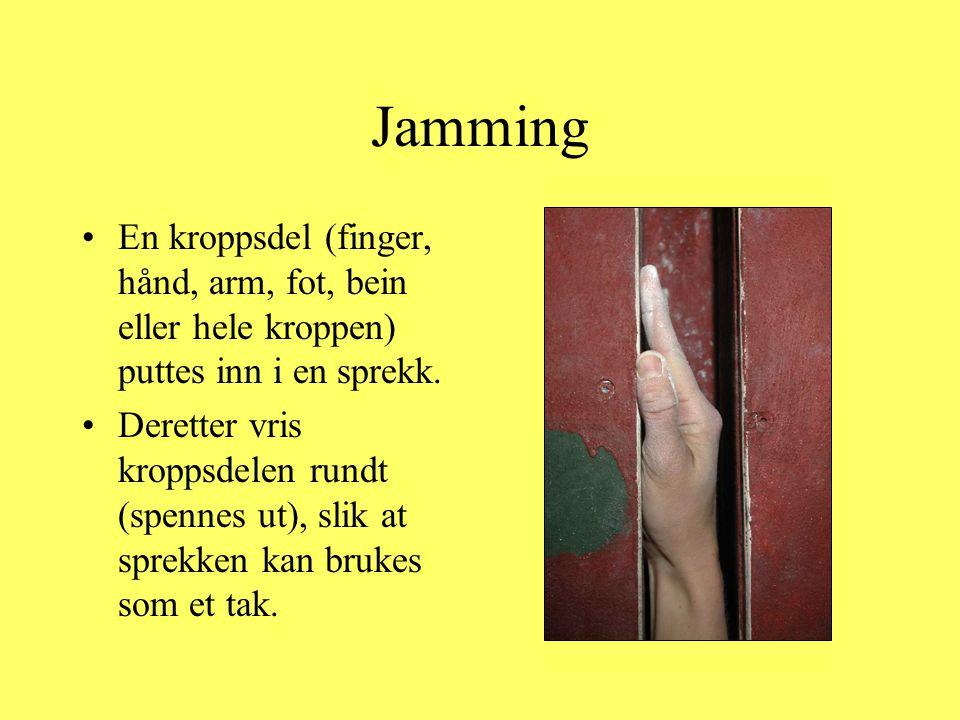 Jamming En kroppsdel (finger, hånd, arm, fot, bein eller hele kroppen) puttes inn i en sprekk.