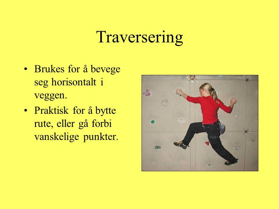 Traversering Brukes for å bevege seg horisontalt i veggen.