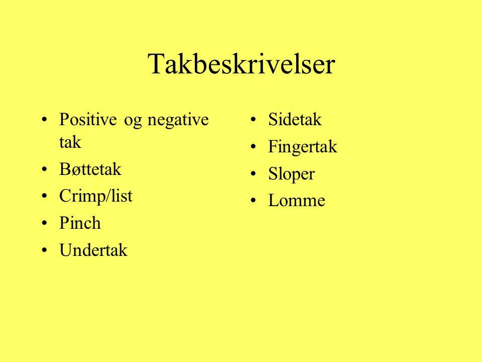 Takbeskrivelser Positive og negative tak Bøttetak Crimp/list Pinch