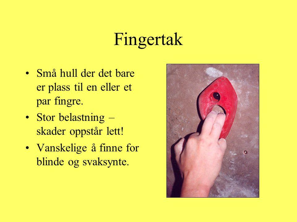 Fingertak Små hull der det bare er plass til en eller et par fingre.
